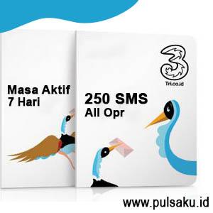 Paket SMS THREE - 250 SMS All Opr 7hr