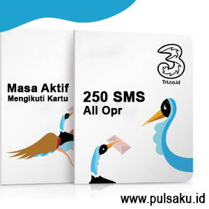 Paket SMS THREE - 250 SMS AllOpr Msa Aktf Ikut Kartu