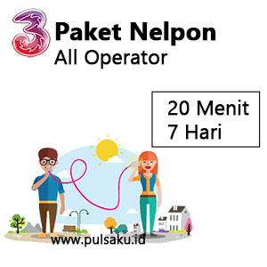 Paket Telpon Three - Semua Operator 20mnt 7hari