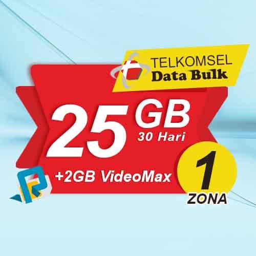 Telkomsel Bulk TSel Zona 1 - 25GB All+2GB VideoMax 30 Hari