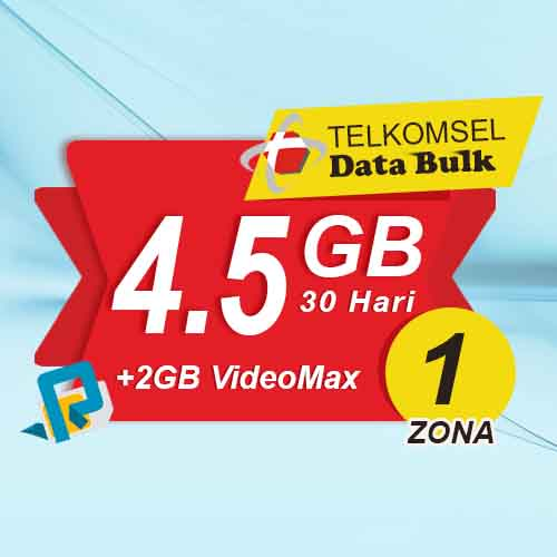 Telkomsel Bulk TSel Zona 1 - 4.5GB All+2GB VideoMax 30 Hari