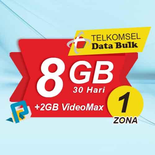 Telkomsel Bulk TSel Zona 1 - 8GB All+2GB VideoMax 30 Hari