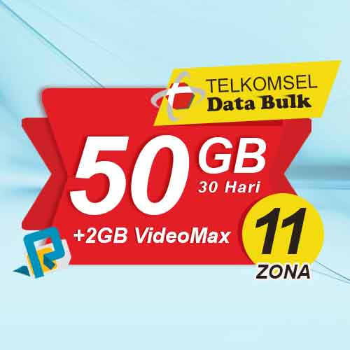 Telkomsel Bulk TSel Zona 11 Area 1 - 50GB All+2GB VideoMax 30 Hari
