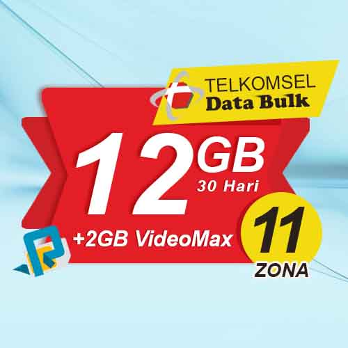 Telkomsel Bulk TSel Zona 11 Area 1 - 12GB All+2GB VideoMax 30 Hari