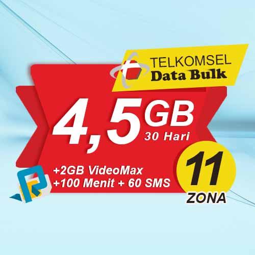 Telkomsel Bulk TSel Zona 11 Area 2 - 4.5GB All+2GB VideoMax+100Menit+60SMS 30 Hari