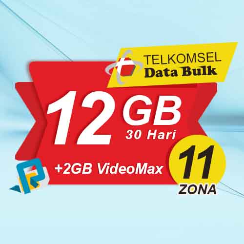 Telkomsel Bulk TSel Zona 11 Area 2 - 12GB All+2GB VideoMax 30 Hari