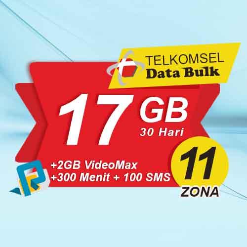 Telkomsel Bulk TSel Zona 11 Area 2 - 17GB All+2GB VideoMax+300Menit+100SMS 30Hari