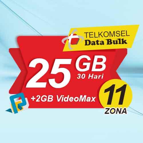 Telkomsel Bulk TSel Zona 11 Area 2 - 25GB All+2GB VideoMax 30 Hari