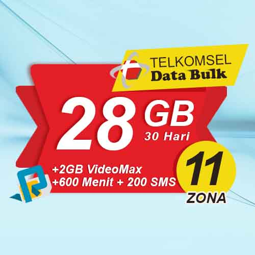 Telkomsel Bulk TSel Zona 11 Area 2 - 28GB All+2GB VideoMax+600Menit+200SMS 30 Hari