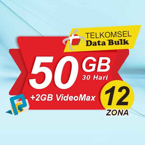 Telkomsel Bulk TSel Zona 12 Area 1 - 50GB All+2GB VideoMax 30 Hari
