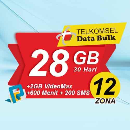 Telkomsel Bulk TSel Zona 12 Area 1 - 28GB All+2GB VideoMax+600Menit+200SMS 30 Hari