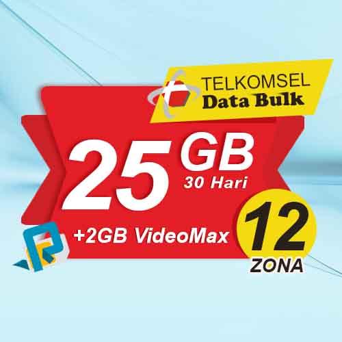 Telkomsel Bulk TSel Zona 12 Area 1 - 25GB All+2GB VideoMax 30 Hari