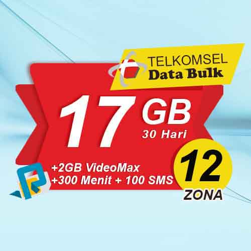 Telkomsel Bulk Tsel Zona 12 area 2 - 17GB All+2GB VideoMax+300Menit+100SMS 30 Hari