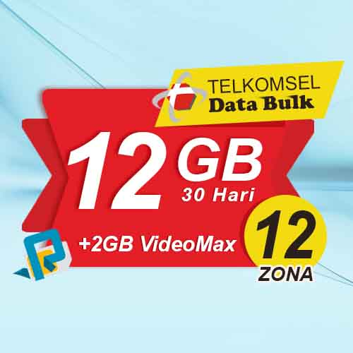 Telkomsel Bulk Tsel Zona 12 area 2 - 12GB All+2GB VideoMax 30 Hari