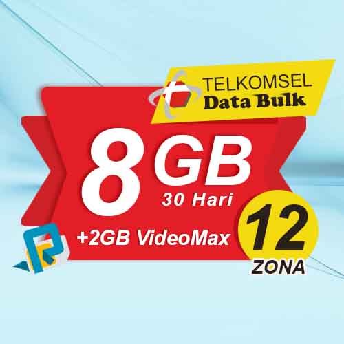 Telkomsel Bulk Tsel Zona 12 area 2 - 8GB All+2GB VideoMax 30 Hari