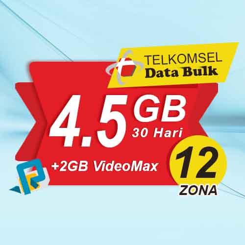 Telkomsel Bulk Tsel Zona 12 area 2 - 4.5GB All+2GB VideoMax 30 Hari