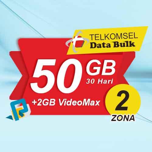 Telkomsel Bulk TSel Zona 2 - 50GB All+2GB VideoMax 30 Hari