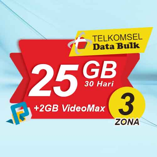 Telkomsel Bulk TSel Zona 3 - 25GB All+2GB VideoMax 30 Hari