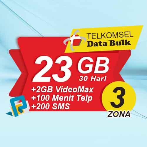 Telkomsel Bulk TSel Zona 3 - 28GB All+2GB VideoMax+600Menit+200SMS 30 Hari