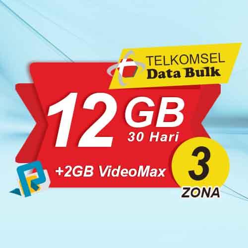 Telkomsel Bulk TSel Zona 3 - 12GB All+2GB VideoMax 30 Hari