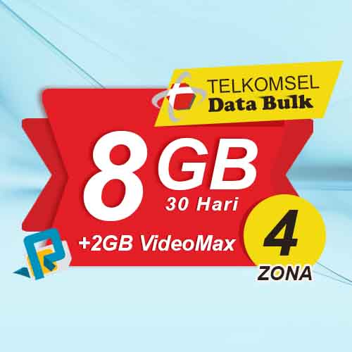 Telkomsel Bulk TSel Zona 4 - 8GB All+2GB VideoMax 30 Hari