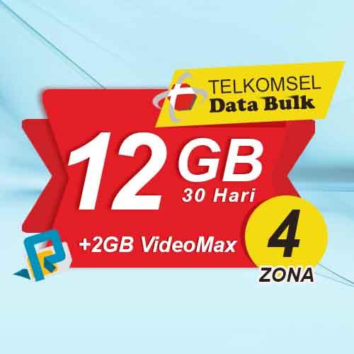Telkomsel Bulk TSel Zona 4 - 12GB All+2GB VideoMax 30 Hari