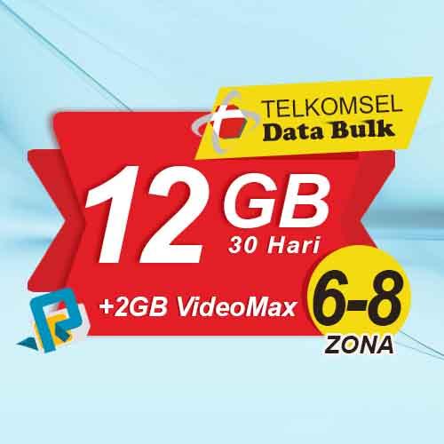 Telkomsel Bulk TSel Zona 6-8 - 12GB All+2GB VideoMax 30 Hari