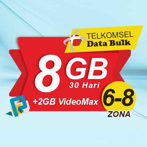 Telkomsel Bulk TSel Zona 6-8 - 8GB All+2GB VideoMax 30 Hari
